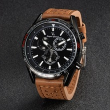 Casual hot sale V6 fashion brand men watch new genuine leather quartz watch big dial wristwatch