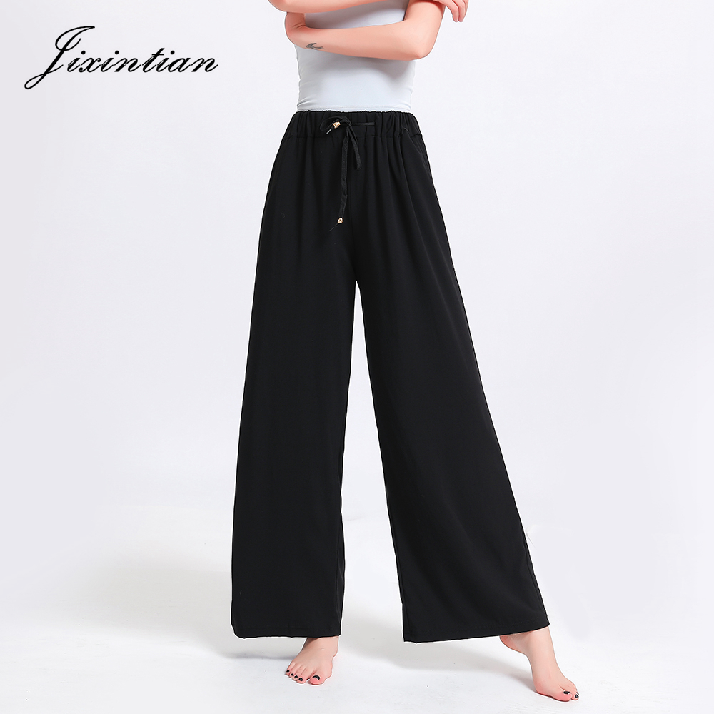 Jixintian New Design High Quality Rayon   Wide     Leg     Pants   Loose Casual Plus Size Women's Trousers Breathable Drawstring Black   Pants