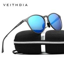 VEITHDIA Unisex Retro Aluminum Magnesium Brand Sunglasses Polarized Lens Vintage Eyewear Accessories Sun Glasses Men/Women 6625