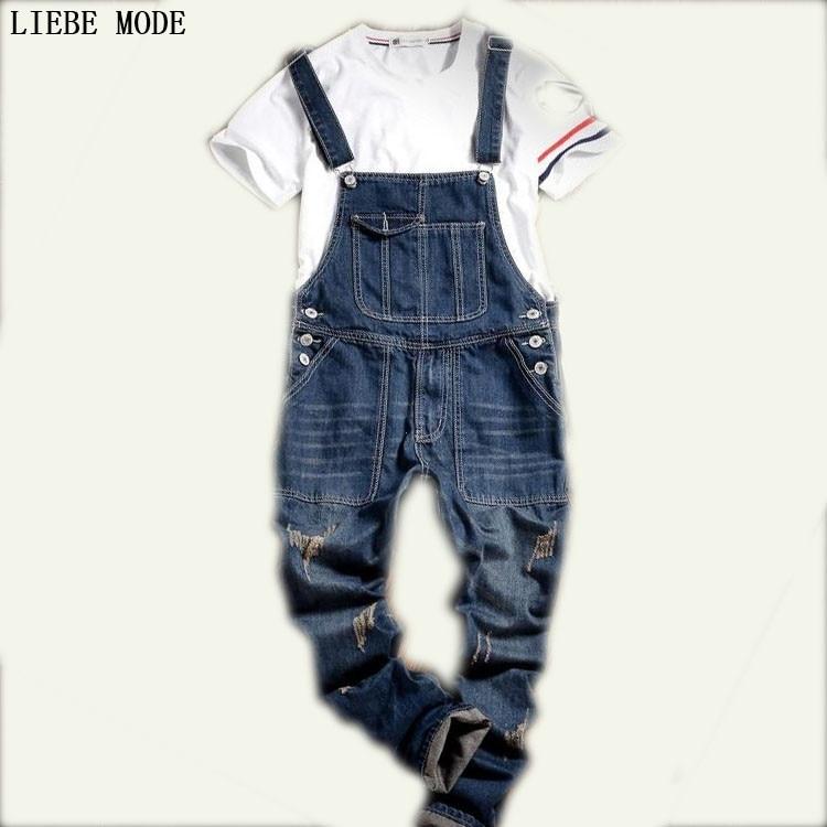 9e9180740ed 2016 Hot Sale Male Cotton Jean Denim Jumpsuit For Men One Piece Mens Bib  Overalls Fashion Jumpsuit Salopette Homme Black Blue