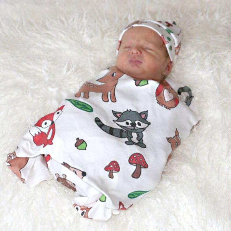 New 1Set Newborn Baby Soft Cartoon Swaddle Wrap Towel Blanket +Hat Photography Props Set