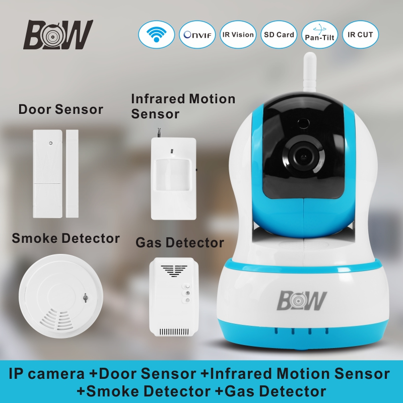 720P HD IP Camera Security +Door Sensor/Infrared Motion Sensor/Smoke/Gas Detector Wifi Camera Monitor Equipment Alarm BW13B 720p hd ip camera security door sensor infrared motion sensor smoke gas detector wifi camera monitor equipment alarm bw13b