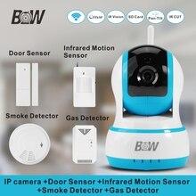 720 p hd ip cámara de seguridad + sensor de puerta/infrarrojos motion sensor/detector de humo/gas wifi cámara equipo de monitor de alarma bw13b