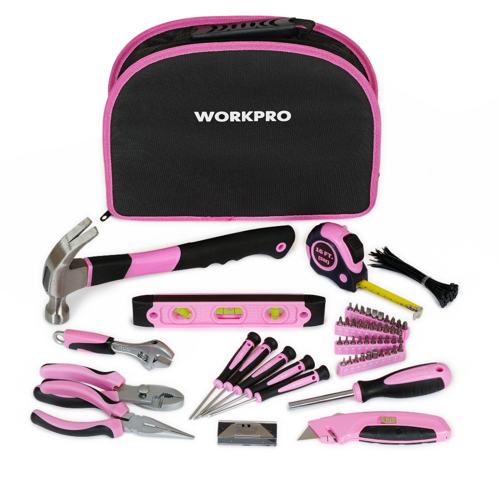 ФОТО Mother's Day Gift 103PC Ladies Tools Pink Tool Set Home Tool Kits Hammers Pliers Saws Screwdrivers Wrenches Tapes