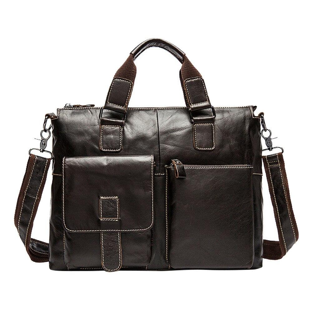 HOT New Genuine Leather Men's Satchel Handbags For Men Shoulder Bags Document Briefcase 14 Laptop Bag Retro Men Business Bags casual canvas satchel men sling bag
