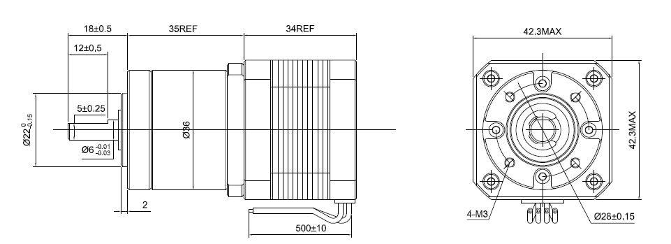 27:1 Planetary Gearbox Nema 17 Stepper Motor 0.4A for DIY