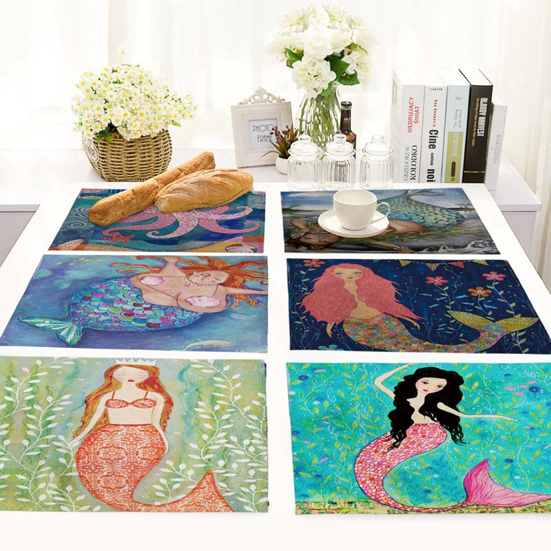 42X32CM Table Napkins Beautiful Mermaid Pattern Dinner Table Napkins Tea Coffee Towel Restaurant Plates Decoration MS0004