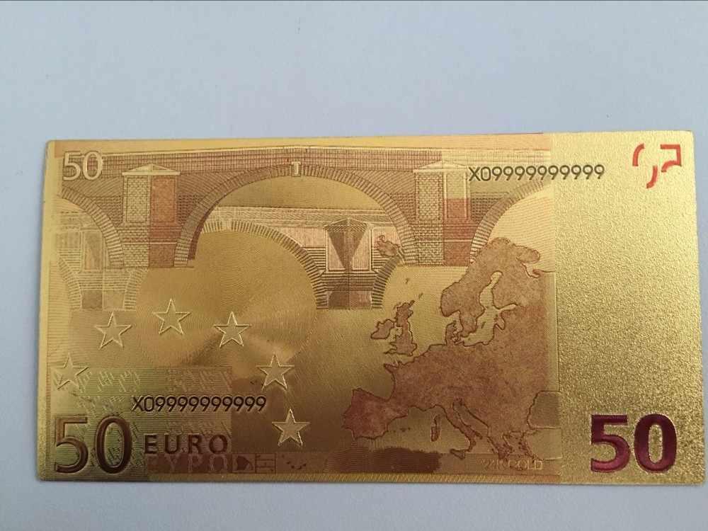 100 шт 24 k Европейская 50 Золотая банкнота евро поддельные деньги евро банк Примечания Европа деньги цвет Позолоченные банкноты креативный подарок