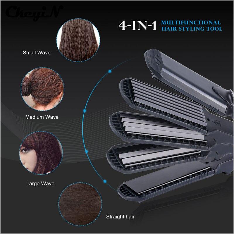 Plancha de pelo y maíz ola placa 4 estilo intercambiables, plancha de rizado de cabello corrugado de hierro plano rizador de pelo styler Tool48