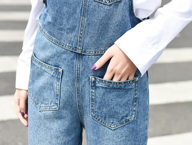 2019 new women Denim Jumpsuit fashion hole Streetwear Bodycon femme casual Suspender Pants jeans Overalls w568 20