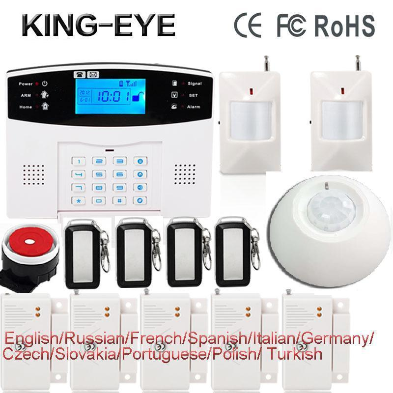 Russian/Polish/French/Spanish voice prompt LCD display home security alarm system gsm sms auto dial roof ceiling infrared sensor russian french spanish voice prompt gsm sim home burglar security alarm system remote control kit infrared detector door sensor