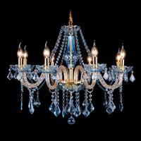 Coffee Shop Blue Crystal Chandelier Led Candle Holder French Restaurant Candle Chandelier Light E14 Led Home