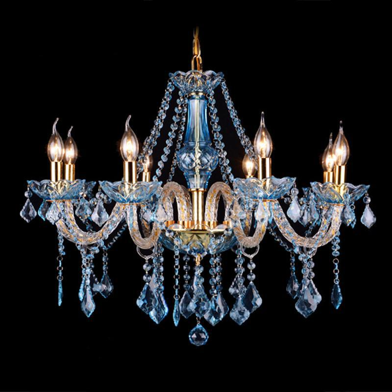 Coffee shop Blue crystal chandelier led candle holder French Restaurant Candle Chandelier Light E14 led home