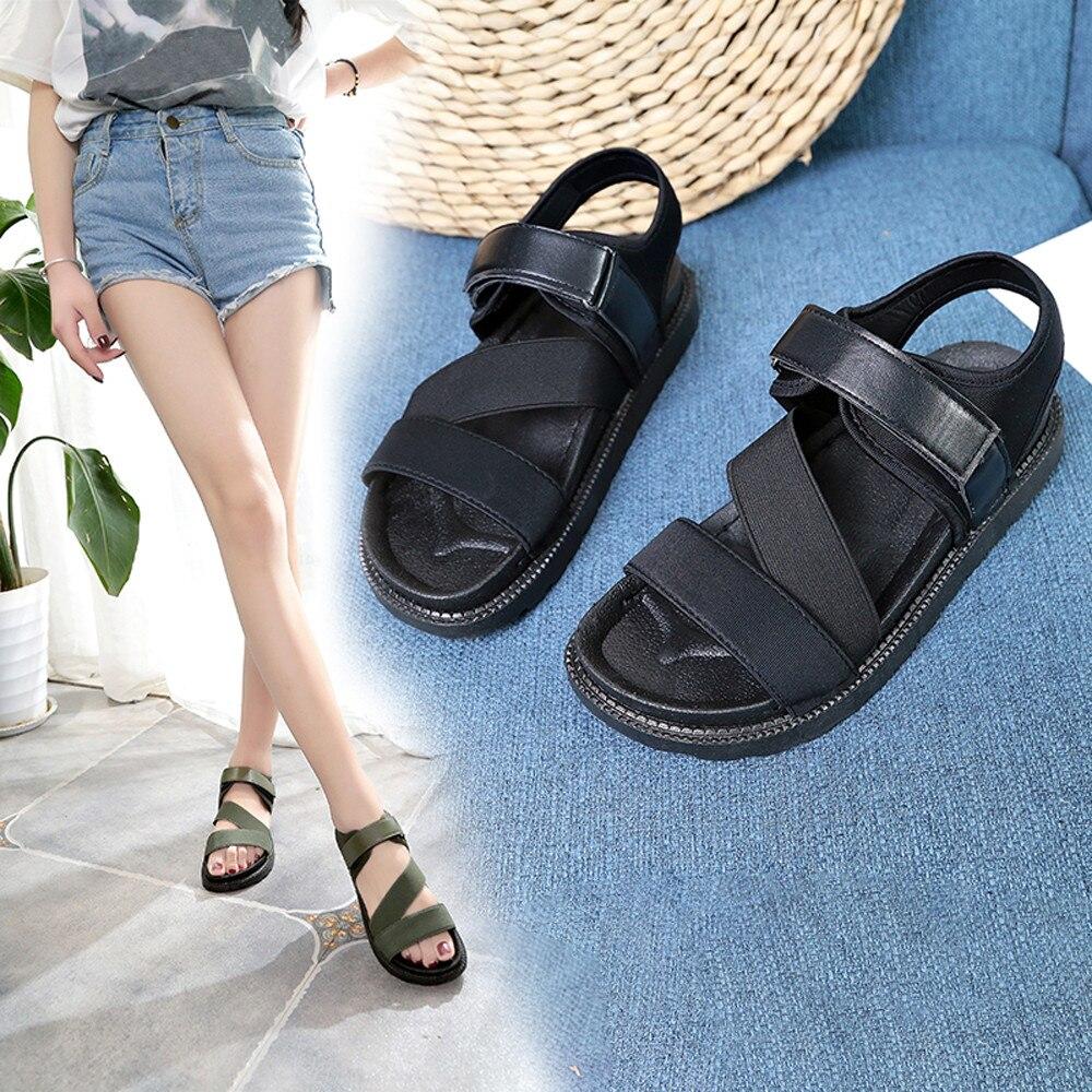 07e8629e 2018 sandalias de gladiador para mujer, zapatos de verano, sandalias de  moda para mujer, ocasiones informales, cómodas Sandalias planas para mujer
