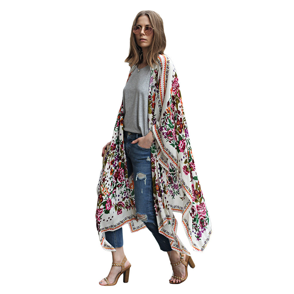 fashion women floral print kimono cardigan summer asymmetric long boho top blusas plus size. Black Bedroom Furniture Sets. Home Design Ideas