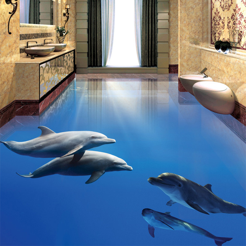Photo Wallpaper Modern Dolphin Undersea World 3D Floor Tiles Mural Sticker Bathroom Bedroom PVC Waterproof Home Decor Wall Paper