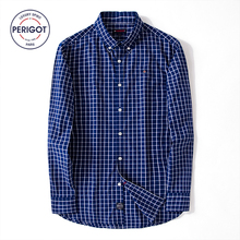 PERIGOT PGM170102 2017 New All Season Men's Business Casual Plaid Shirt Male 100% Cotton Classical Shirt Top S-L
