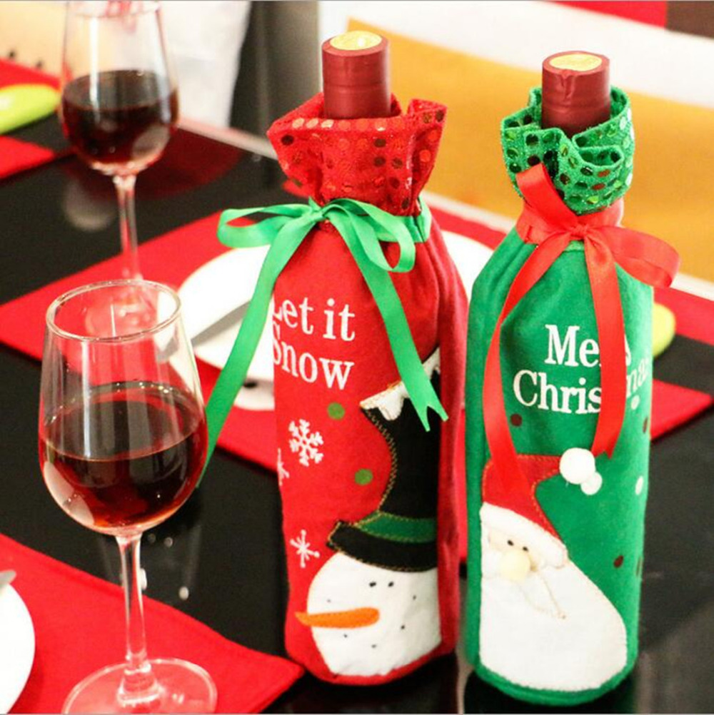 Christmas Decorations Wine Bottle Set Wine Gift Bags Kitchen Decor ...
