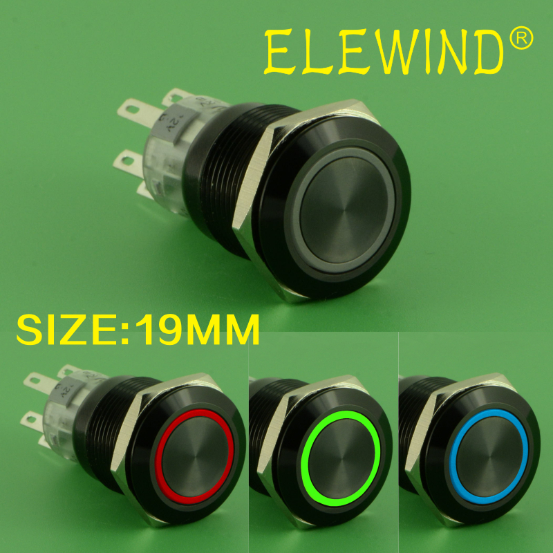 ELEWIND 19mm Latching type black 3 led color ring illuminated push button switch (PM192F-11ZE/J/RGB/12V/A 4pins for led) abeycon big 40mm rgb tricolor push button switch ring led light waterproof latching switch illuminated pushbutton switch