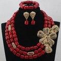 Novo Design de casamento nigeriano Artificial Coral contas conjuntos de jóias de noiva Beads africanos jóias colar jogo frete grátis ABL477