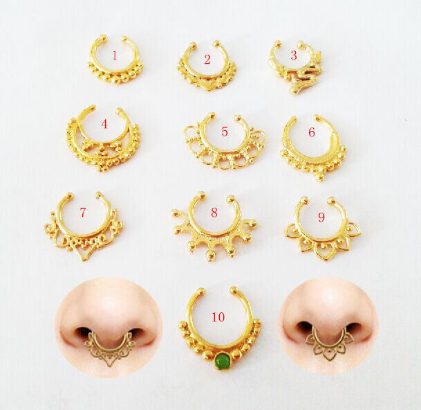 dfa3e1cb2de US $23.3 |10pcs Tribal Septum Ring,Nose Hoop Gold Septum Piercing,Solid  Gold Nose Ring Cartilage Helix Body Piercing-in Body Jewelry from Jewelry &  ...