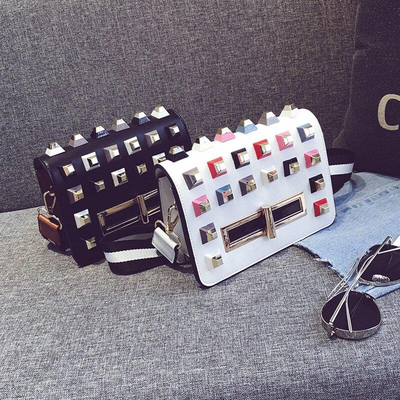 New Women Mini Small Leather Bags Fashion Color Block Lady Messenger Bag Rivets Shoulder Bag Female