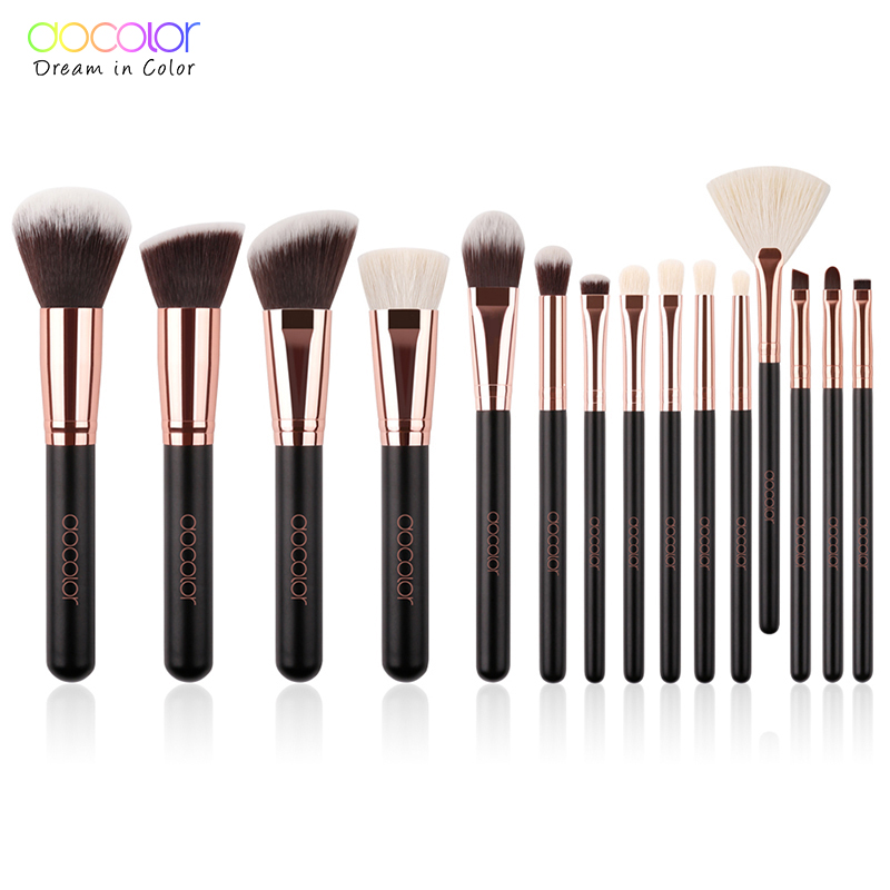 Docolor 15pcs Brushes for makeup brushes set professional with natural hair make up brushes with bag high quality Powder Brush anmor eyelash comb brush high quality eyebrow makeup brushes for daily or professional make up