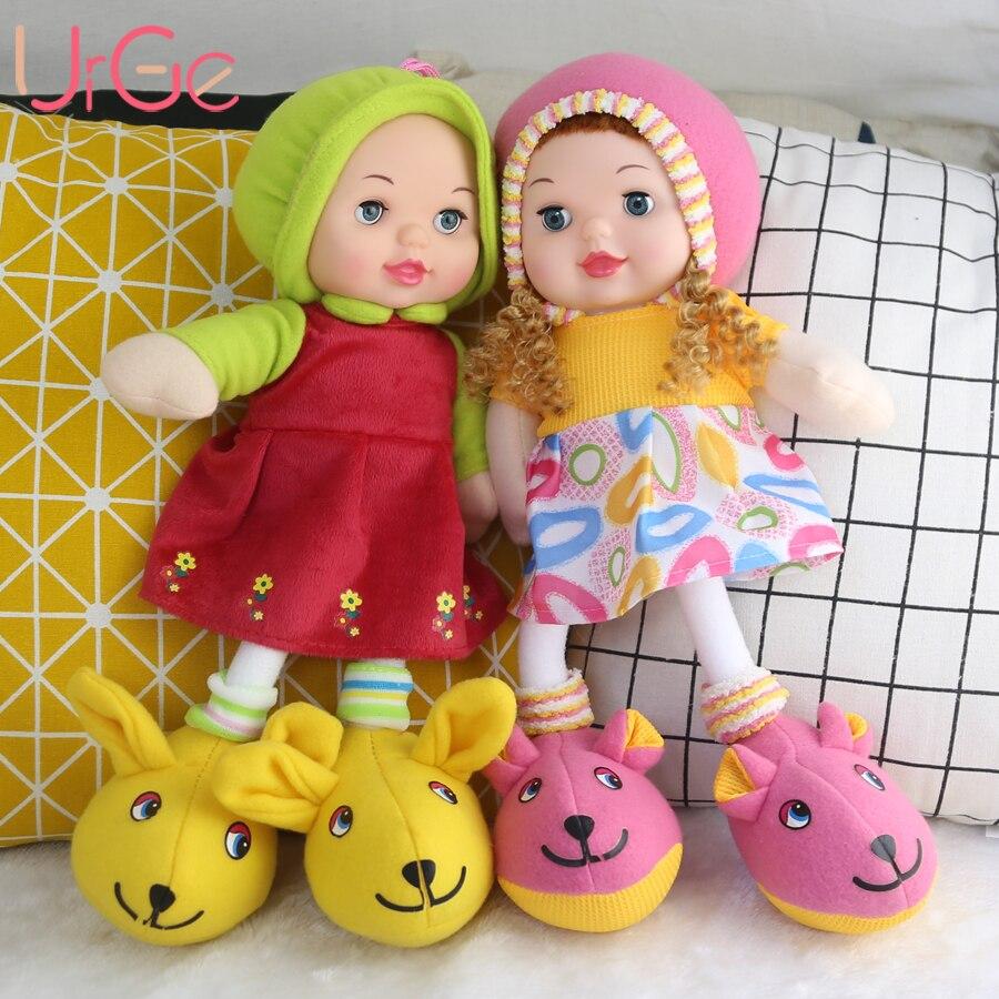 Haute Qualité En Silicone Visage En Peluche Peluche Lapin Grands Pieds Robe Rouge Fille Fille poupées D'anniversaire Cadeau De Noël poupée URGE
