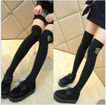 high quality wholesale badge over knee high women/girl fashion 100% cotton boot sex socks