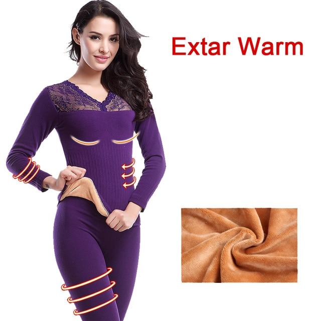 Inverno mais grossa de veludo roupa interior térmica ceroulas mulheres de  pijama Set Top calças ternos 478e7a31e6be8