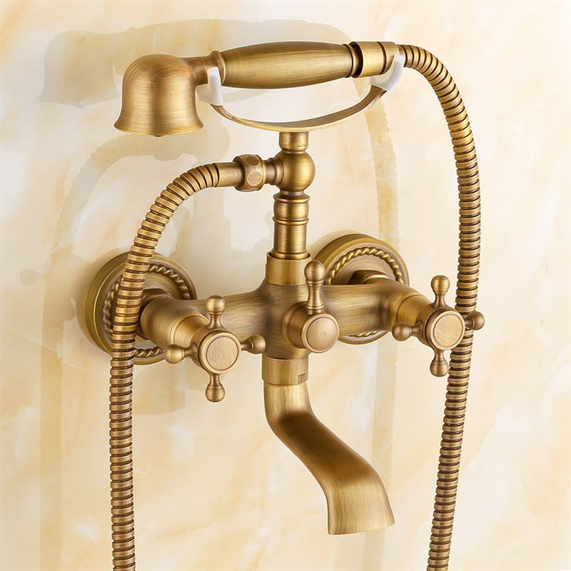 antique copper bathtub faucet shower faucet bathroom faucet triple mixing valve