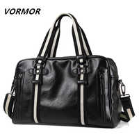 VORMOR PU Leather Men Travel Bags Carry on Luggage Bags Men Duffel Bags Handbag Travel Tote Large Weekend Bag Overnight