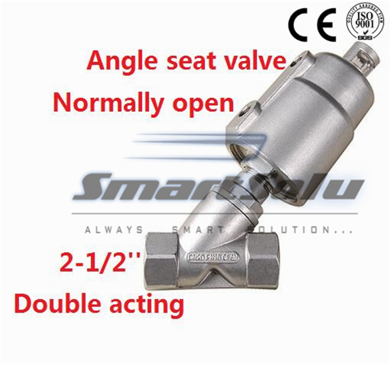 Free shipping Pneumatic seat actuator double angle valves stainless steel DN65 2 1/2 inch normally open for air steam free shipping seat actuator double cheap steam water stainless steel valve angle dn25 1 inch normally open for air