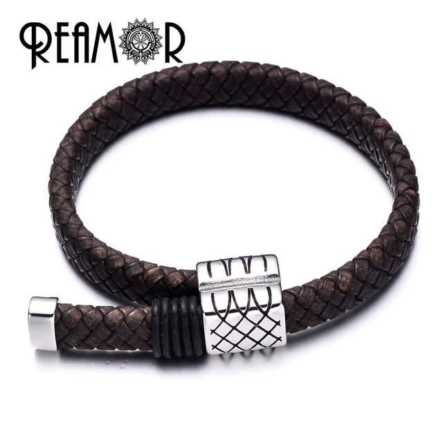 REAMOR 10*5mm Wide Genuine Braided Leather Rope Vintage 2 Colors String Cord For Jewelry Making Craft Jewelry Accessories