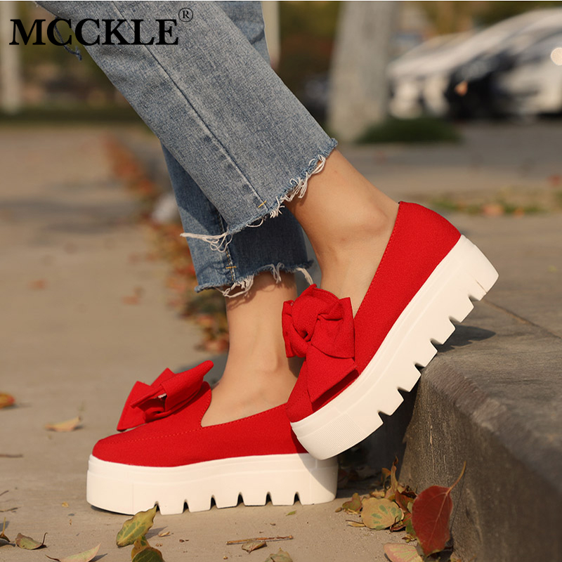 MCCKLE Women Bowtie Flat Platform Creepers Ladies Autumn Shoes For Woman Shallow Slip On Flock Female Footwear Shoe mcckle female flat shoes women cut outs autumn espadrilles fashion flock buckle strap sewing flats casual solid footwear shoe
