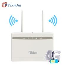 TIANJIE CP100 4G WiFi Router Wireless Router HIGH GAIN เสาอากาศภายนอก 3G 4G LTE CPE Home Office router กับซิมการ์ดสล็อต