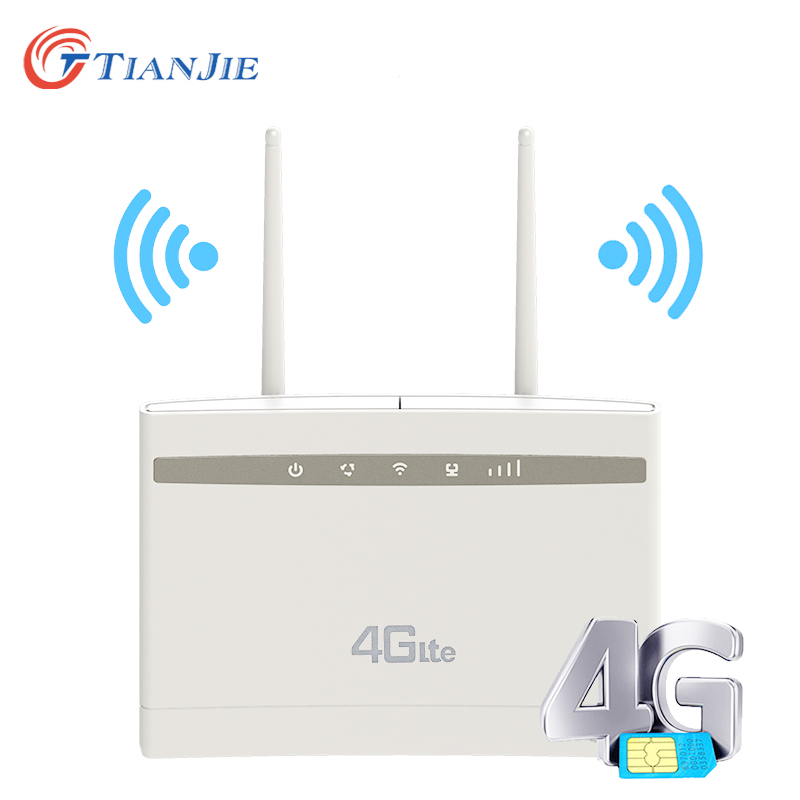 TIANJIE CP100 4G Wifi Router Wireless Router High Gain External Antenna 3G 4G Lte CPE Home Office Router With Sim Card Slot