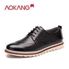 AOKANG Men Dress shoes leather high quality brogue shoes men genuine leather British Style Oxford sapatos femininos Dress Shoes недорого