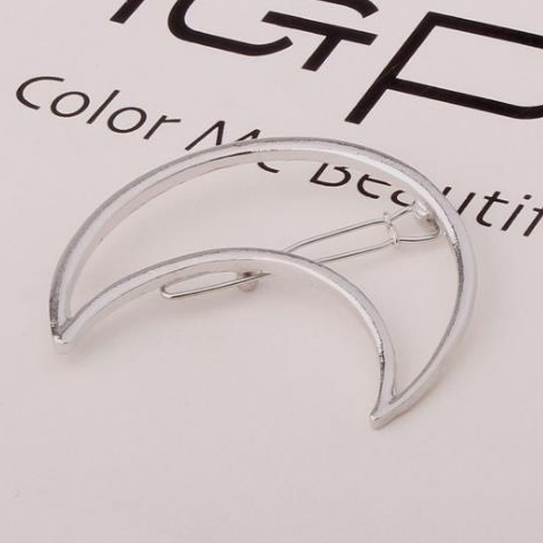 1PC Fashion Punk Hollow Out Moon Triangle Sahped Hair Clip Barrettes Hairpin Clamps Gold Tone for Women Lady Girl