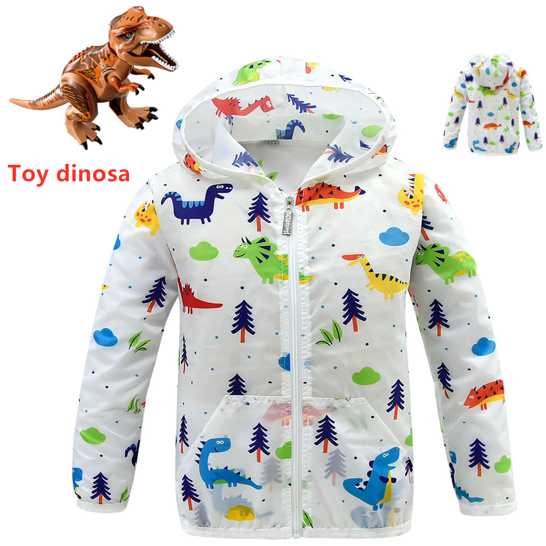 T-Shirt Dinosaur Air-Conditioning Clothing Girls Baby Children's New Hooded Sunscreen-Jacket