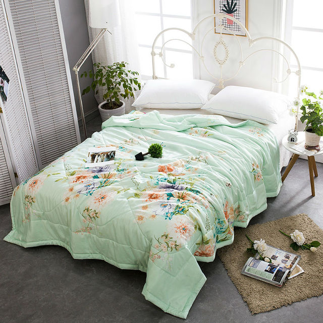 Tencel Summer Quilt Plant Flowers Twill Printing Mechanical Wash