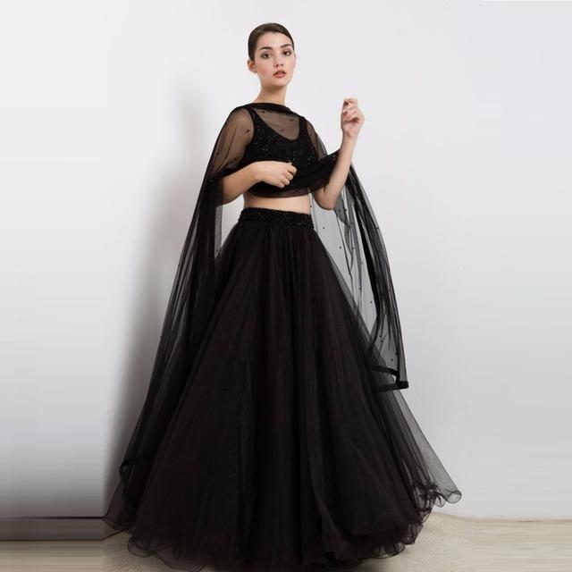 High End Preto Puffy Tulle Saias Para As Mulheres Da Moda Frisado Cós Brilhante Até O Chão Saia Tutu Para Festa Formal 2017