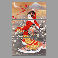 Big Size Japan Style Red Kimono Lady Picture Decoration Japanese Plum Flowers Canvas Painting Wall Art