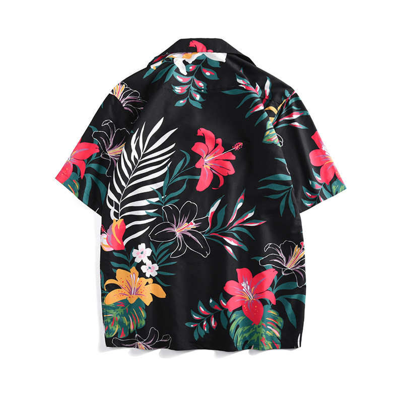 Summer loose Men 39 s Shirts Holiday style Hawaii floral print short sleeves Shirts Fashion Women men 39 s beach Shirts A348 in Casual Shirts from Men 39 s Clothing