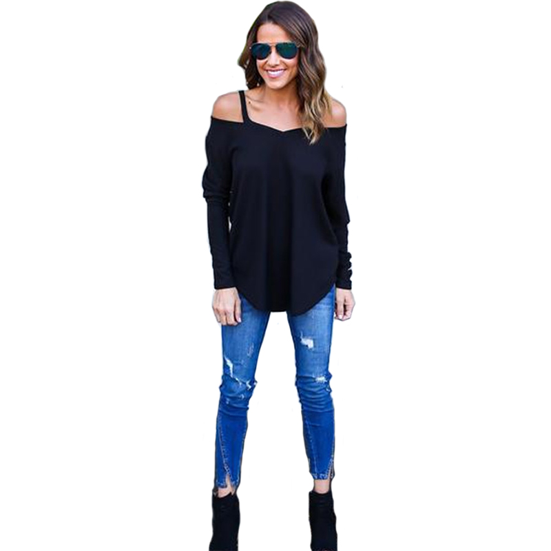 ac2402a8c108 Sexy Off Shoulder T Shirt Women 2017 Spring Strap Long Sleeve T Shirt Black  White V Neck Buckles Blusas T shirt women Tees-in T-Shirts from Women's  Clothing ...