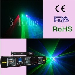 Free Shipping--1pc 3 lends green+red+violet Laser Light Show System(CTL-PS)DMX SOUND AUTO DJ DISCO PARTY LASER LIGHT