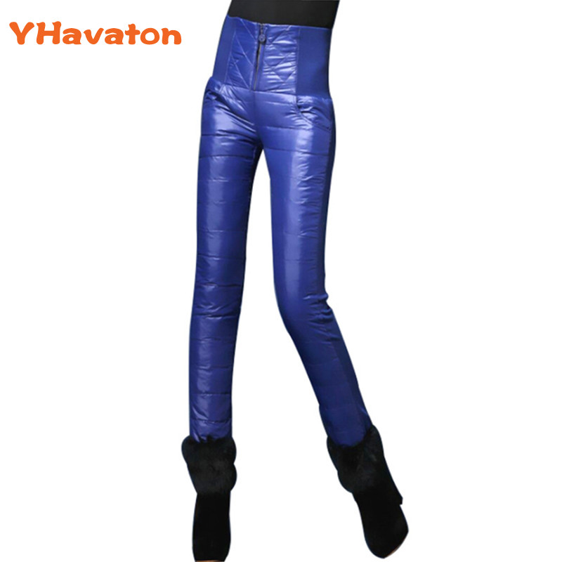 Plus Size Women Pants Trousers Winter High Waist Elastic OutWear Women Female Trousers Skinny Slim Warm Thick Duck Down Pants