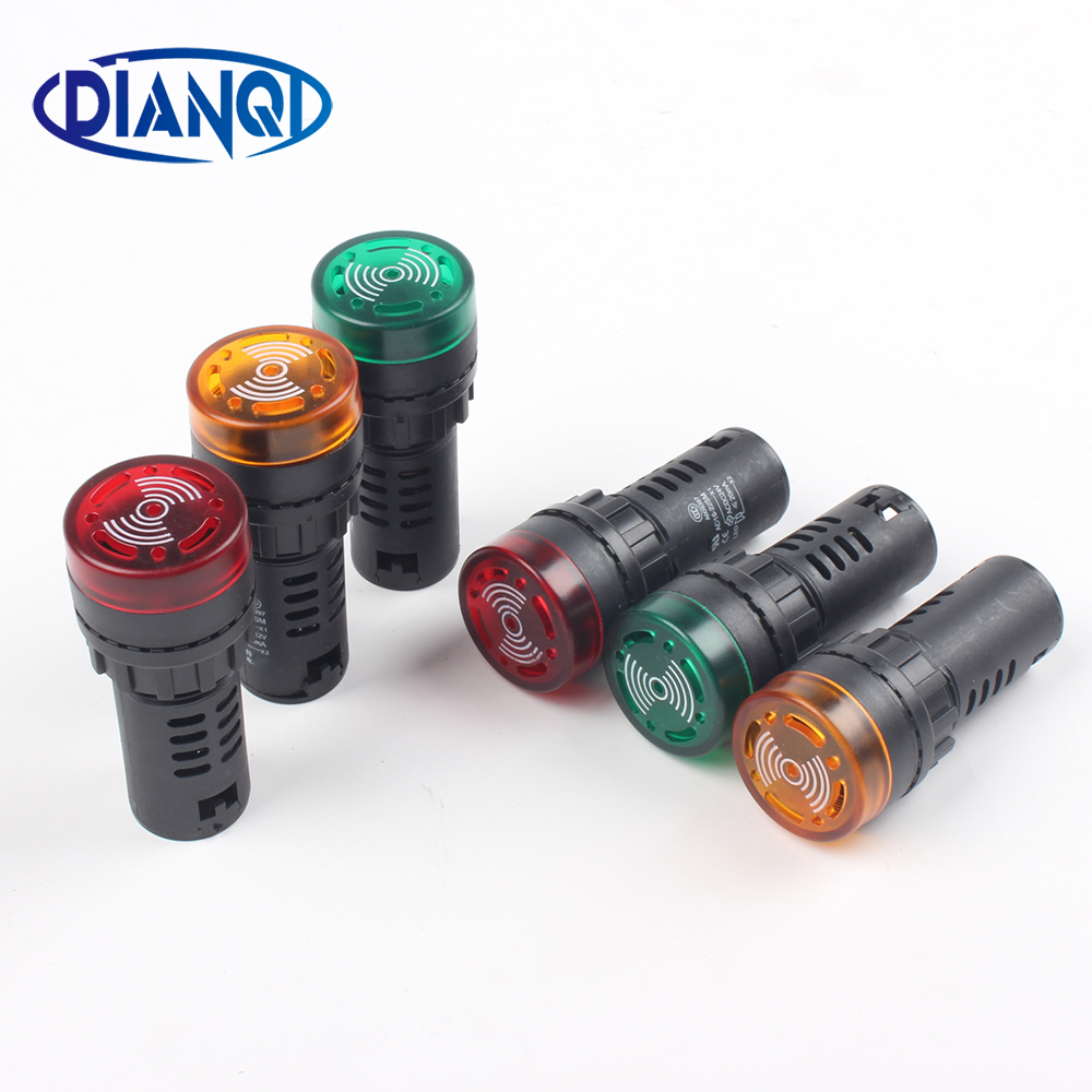 1pc Colorful AD16-22SM 12V 24V 220V 22mm Flash Signal Light Red LED Active Buzzer Beep Alarm Indicator Red Green Yellow