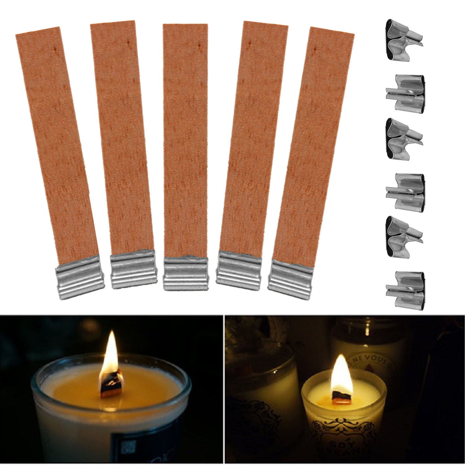 50 PCS 12.5 x 75mm Wood Candle Wicks Supplies Wick for ...