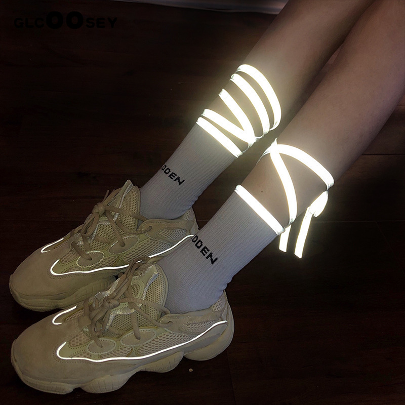 NEW Women Socks Fluorescent Bandage Socks Bar Nightclub Reflective Cross Personality Calf Socks Tide Brand Gypsophila Excellent